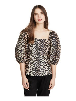 Ganni printed cotton poplin blouse