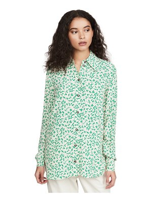Ganni printed crepe button down shirt