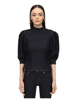 Ganni Puffed sleeve cotton denim top