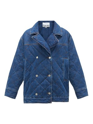 Ganni quilted double-breasted denim jacket