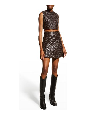 Ganni Quilted Leather Skirt