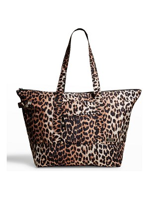 Ganni Recycled Leopard-Print Tote Bag