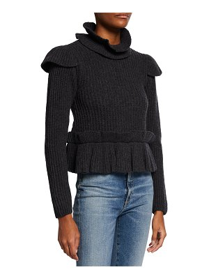 Ganni Ribbed Open-Back Turtleneck Sweater w/ Ruffles