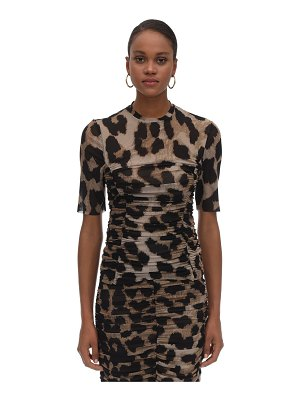 Ganni Ruched leopard print top