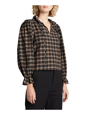 Ganni Seersucker Check Long-Sleeve Blouse