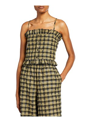 Ganni Seersucker Check Ruffle Button-Front Top