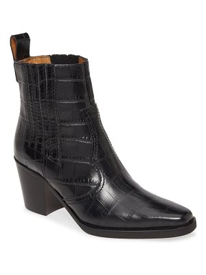 Ganni short western embossed leather boot