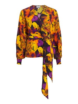 Ganni silk-blend floral wrap top