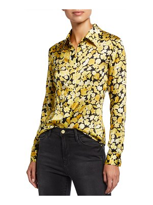 Ganni Silk Stretch Satin Long-Sleeve Shirt