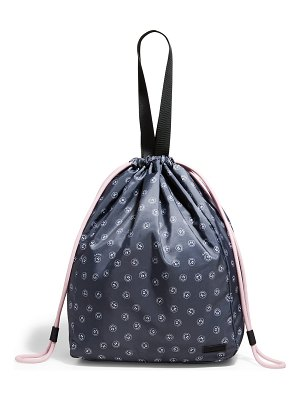 Ganni Smiley Face Recycled Fabric Drawstring Tote Bag