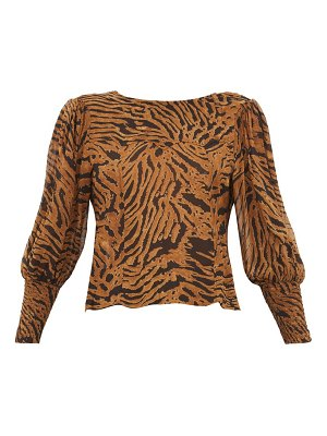 Ganni smocked cuff tiger print crepe blouse