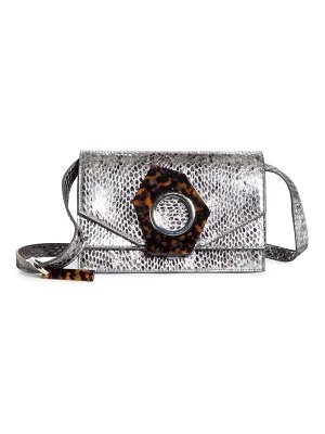 Ganni snake embossed leather flap crossbody bag