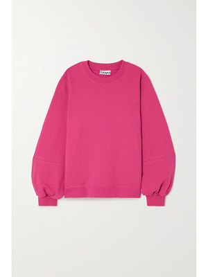 Ganni software embroidered recycled cotton-blend jersey sweater