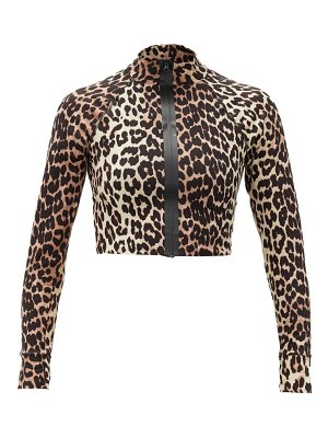 Ganni zip-front leopard-print stretch-jersey cropped top