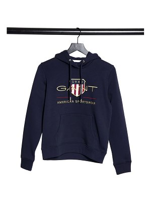 Gant logo hoodie with archive print in navy-blue