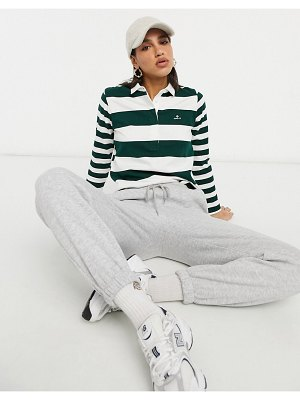 Gant polo top with long sleeves in mixed stripe-green