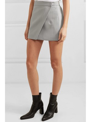Gareth Pugh pinstriped wool-blend wrap mini skirt