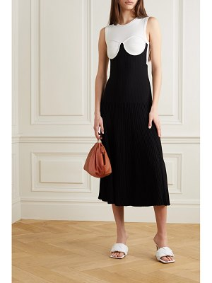 Gauchere pandore two-tone crepe and ribbed-knit midi dress