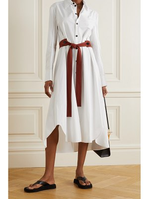 Gauchere sybil asymmetric topstitched cotton-poplin shirt dress