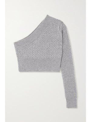 GAUGE81 welling cropped one-sleeve cable-knit cashmere sweater