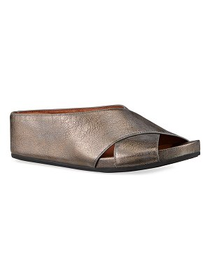 Gentle Souls Gisele Crisscross Metallic Slide Sandals