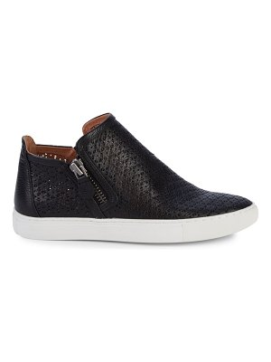 Gentle Souls Hale Perforated Floral Leather Zip Sneakers
