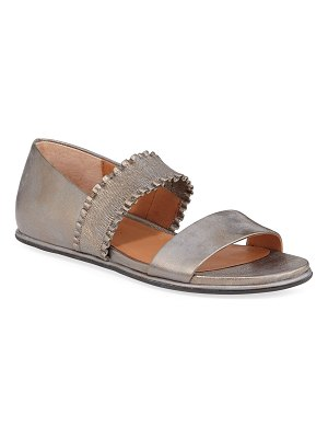 Gentle Souls Lark Flat Metallic Leather Ruffle Sandals