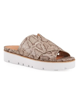 Gentle Souls Lavern X-Band Snake-Print Slide Sandals