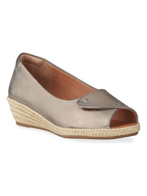 Gentle Souls Luci Easy Open Metallic Wedge Espadrille Sandals
