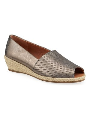 Gentle Souls Lydia Metallic Leather Wedge Espadrilles