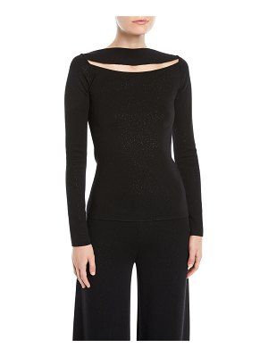 Gentry Portofino Slit-Front Long-Sleeve Speckled-Knit Top