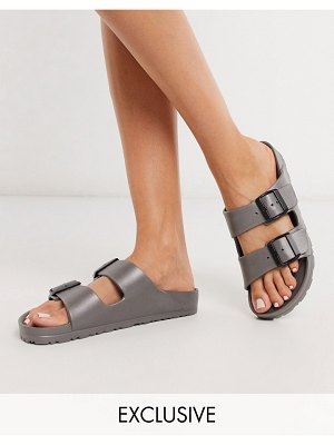 Genuins exclusive mallorca double strap light weight slides in anthracite-gray