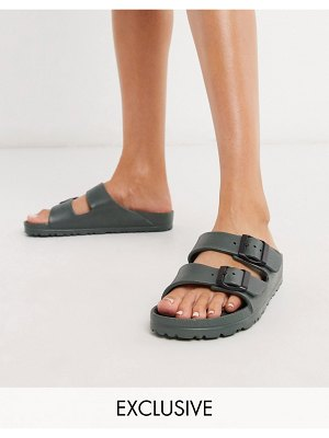 Genuins exclusive mallorca double strap light weight slides in khaki-green