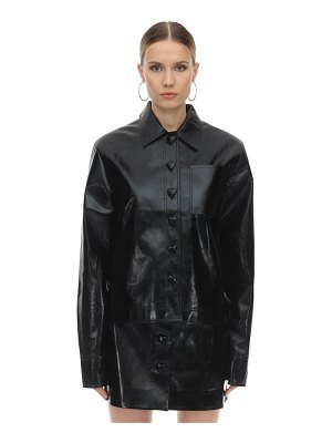 George Keburia Heart button faux leather shirt