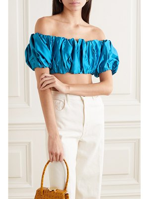 Georgia Alice lula cropped off-the-shoulder ruched stretch-cotton satin top