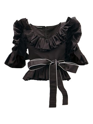GERMANIER ruffled upcycled-satin belted blouse