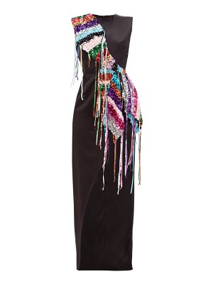 GERMANIER recycled sequin-strand satin dress