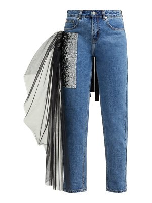 GERMANIER tulle trim crystal embellished straight leg jeans