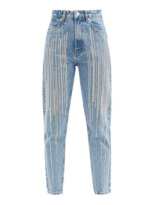 GERMANIER upcycled swarovski-crystal cropped high-rise jeans