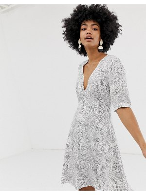Gestuz cathrin polka dot tea dress with button front-white