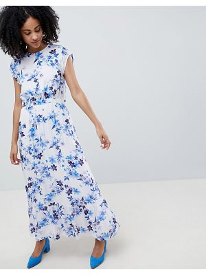 Gestuz Floral Maxi Dress With Frill Shoulder