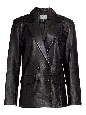 Gestuz leather double-breasted blazer