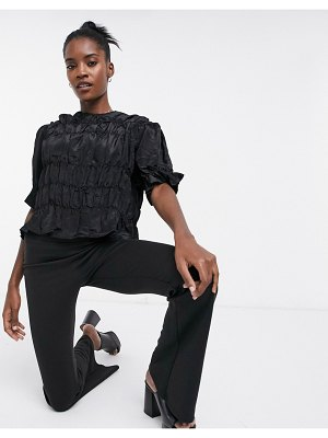 Ghospell blouse with shirring in luxe satin-black