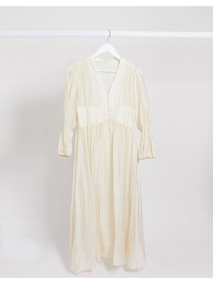 Ghospell button front sheer maxi dress-white