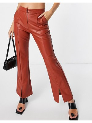 Ghospell cropped kick flares with front slit in red faux leather