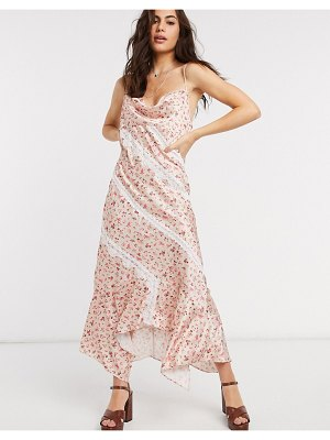 Ghospell floral maxi slip dress with lace inserts-pink
