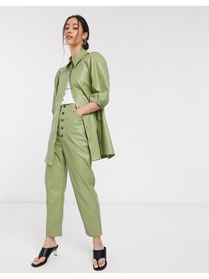 Ghospell high waisted mom pants in faux leather-green