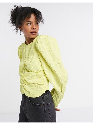 Ghospell long sleeve blouse with ruching in electro jacquard-yellow