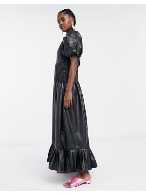 Ghospell maxi dress with shirred waist in faux leather-black