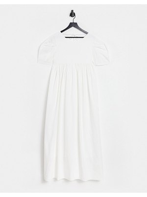 Ghospell maxi smock dress with volume sleeves and tie back detail in white